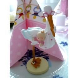 Storch mit Baby Dekofigur / Tortenaufsatz