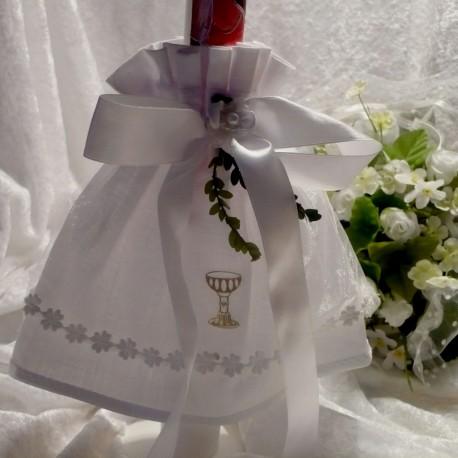Kerzenröckchen aus Batist mit Organza u. Satinband