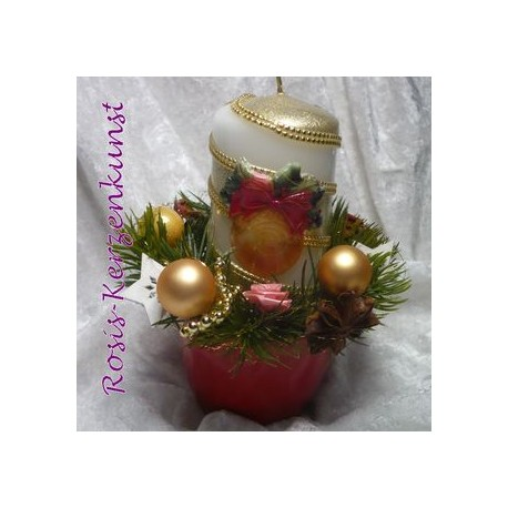 Weihnachtskerze mit Weihnachtsbaum-Motiv