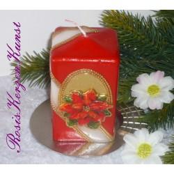 Weihnachtskerze in rot mit Weihnachtssternmotiv
