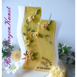 "Hochzeitskerze "" Yellow Roses"" als Doppelwelle"