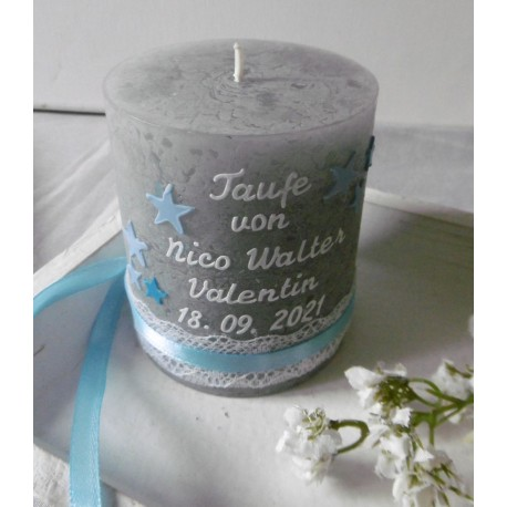 Personalisierte Tischkerze * Gastgeschenke-Kerzen * Rustik-Kerzen * Hell grau *