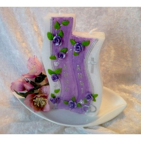 """Hochzeitskerze """" Beauty Lilac"""" als Doppelwelle"""