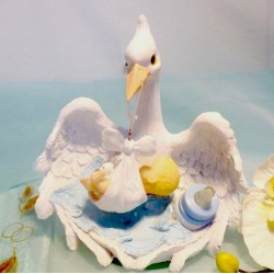 Storch mit Baby, Tischdeko Taufe + Tortenaufsatz